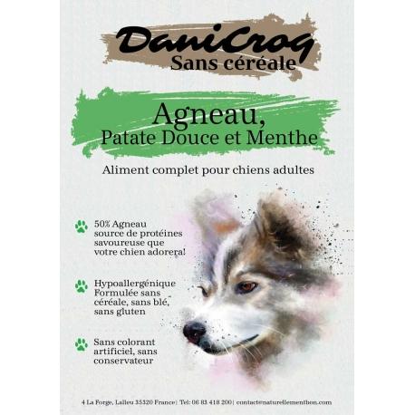 DaniCroc SC croquettes pour chien à l'agneau + oméga 3 sans céréale - Cuisson basse température