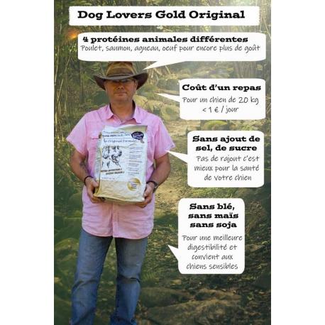 Dog Lovers Gold Original 13 kg - Croquettes pour chien sans gluten poulet, saumon, agneau, oeuf, riz