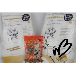 lot de 2 sacs Dog Lovers Gold 15 kg + 1 sac de friandise de 450 grammes